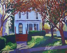 Architecture art,Impressionism art,Representational art,acrylic painting,The Shady Side of the Street
