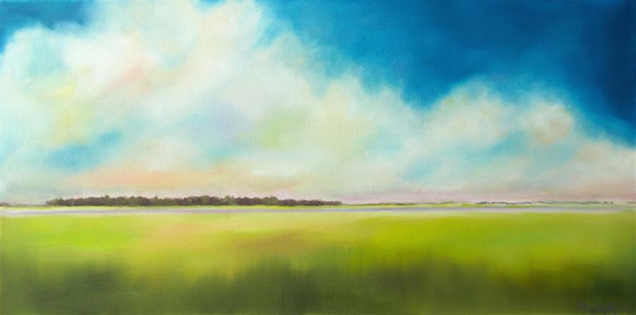 Original art for sale at UGallery.com   Marsh Clouds by Nancy Hughes Miller   $550   oil painting   12' h x 24' w   ..\art\oil-painting-Marsh-Clouds
