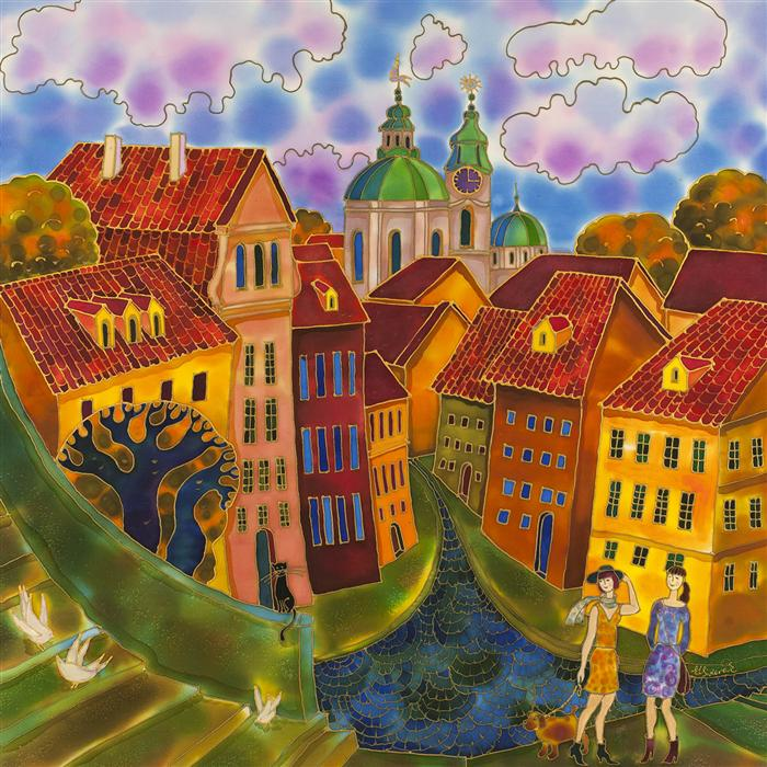 Original art for sale at UGallery.com | Last Summer Day, Prague by YELENA SIDOROVA | $1,350 | Mixed media artwork | 30' h x 30' w | ..\art\mixed-media-artwork-Last-Summer-Day-Prague