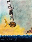 People art,Surrealism art,Representational art,Vintage art,mixed media artwork,Hilda Fish