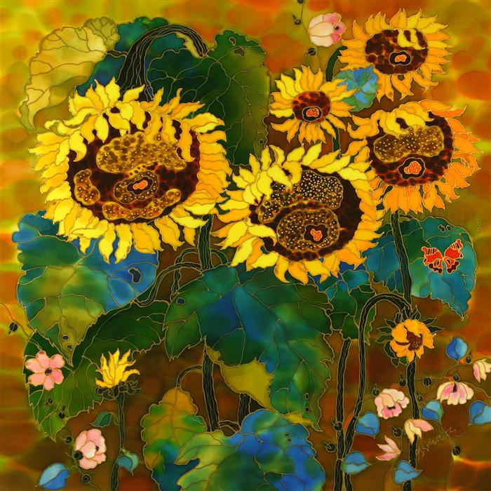 Original art for sale at UGallery.com | Sunflowers Fascination by YELENA SIDOROVA | $1,350 |  | 30' h x 30' w | ..\art\mixed-media-artwork-Sunflowers-Fascination