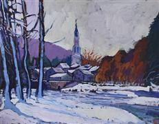 Architecture art,Impressionism art,Landscape art,Nature art,Representational art,acrylic painting,January Morning