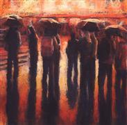 Impressionism art,People art,Representational art,pastel artwork,Rain Dance in Tangerine
