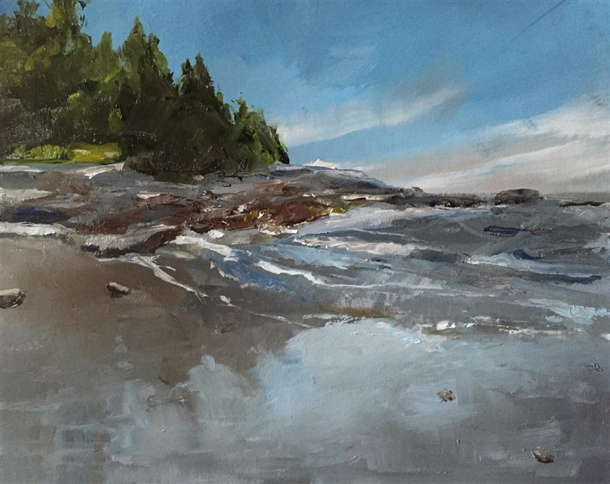 Original art for sale at UGallery.com | Coastline by GARY BRUTON | $575 |  | 11' h x 14' w | ..\art\oil-painting-Coastline