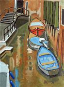 Impressionism art,Seascape art,Travel art,Representational art,oil painting,Boats in a Venetian Canal
