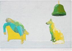 Animals art,People art,Pop art,Representational art,gouache painting,The Afternoon Nap