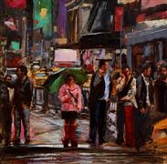 Impressionism art,People art,Representational art,oil painting,Crossing Times Square