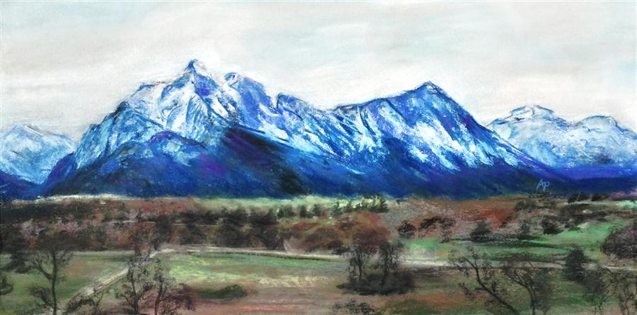 Original art for sale at UGallery.com | The Blue Alps by ANASTASIA PIMENTEL | $500 |  | 12' h x 24' w | ..\art\pastel-artwork-The-Blue-Alps
