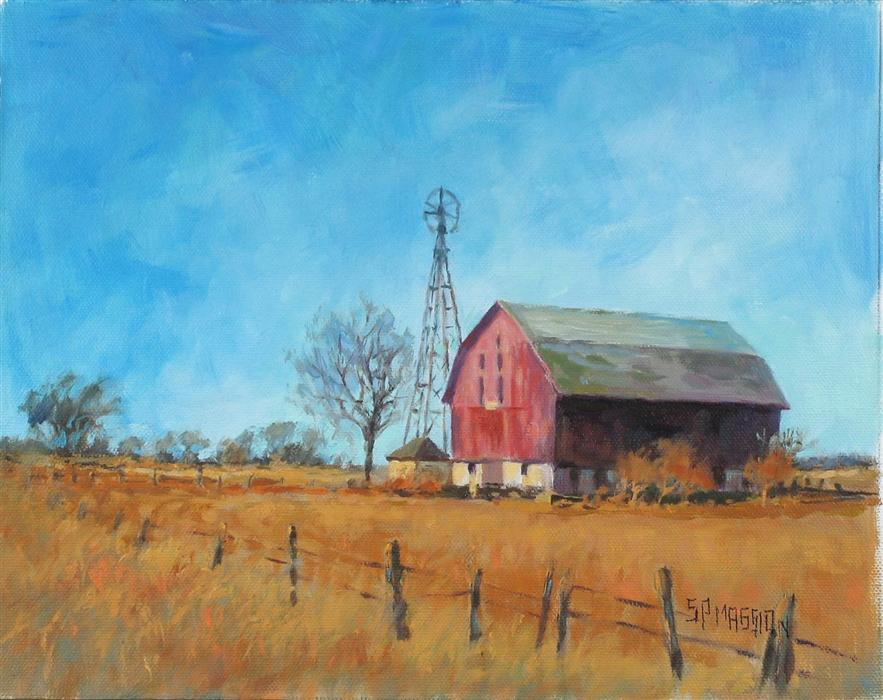 Original art for sale at UGallery.com | Windmill Barn by SUZANNE MASSION | $375 |  | 8' h x 10' w | ..\art\oil-painting-Windmill-Barn
