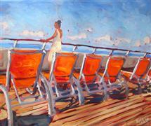 Impressionism art,People art,Seascape art,Travel art,Representational art,acrylic painting,Orange Chairs