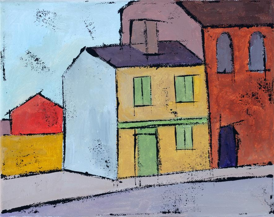 Original art for sale at UGallery.com | Yellow House by TANYA GRABKOVA | $350 | Acrylic painting | 8' h x 10' w | ..\art\acrylic-painting-Yellow-House-36156