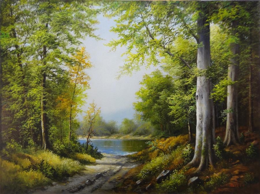Paintings For Sale Online Part - 29: Original Art For Sale At UGallery.com | Lake In The Forest By NIKOLAY  RIZHANKOV