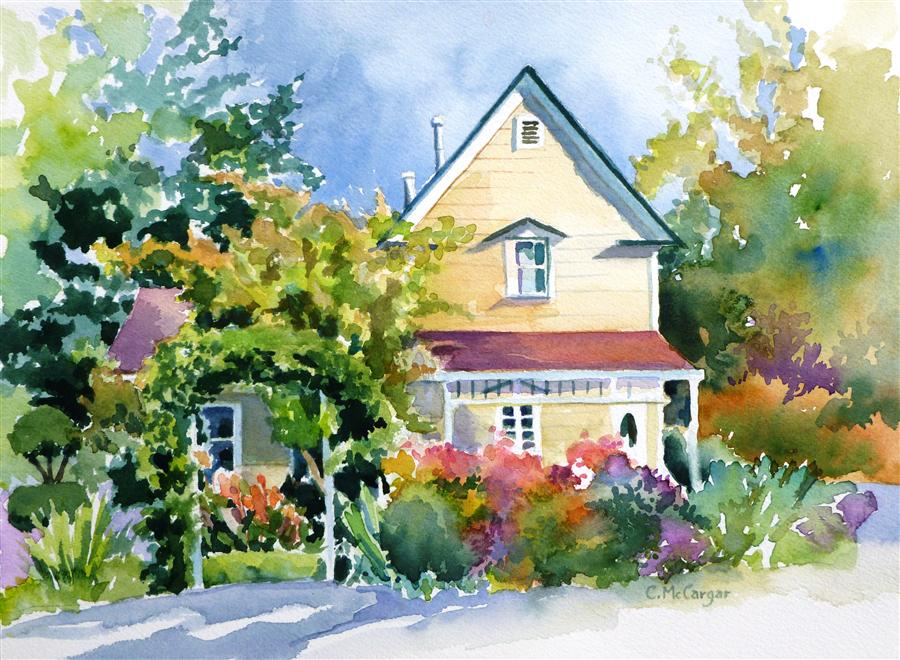 Original art for sale at UGallery.com | Town House by CATHERINE MCCARGAR | $375 |  | 9' h x 12' w | ..\art\watercolor-painting-Town-House