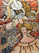 Fantasy art,People art,Surrealism art,Representational art,acrylic painting,The Masked Ball (Le bal masqué)