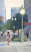 Architecture art,People art,Representational art,watercolor painting,Time for a Walk