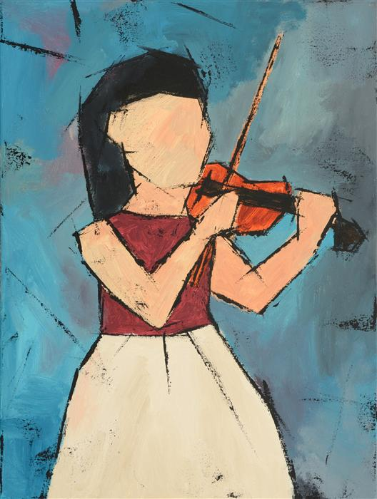 Original art for sale at UGallery.com | Girl with a Violin by TANYA GRABKOVA | $925 | Acrylic painting | 24' h x 18' w | ..\art\acrylic-painting-Girl-with-a-Violin