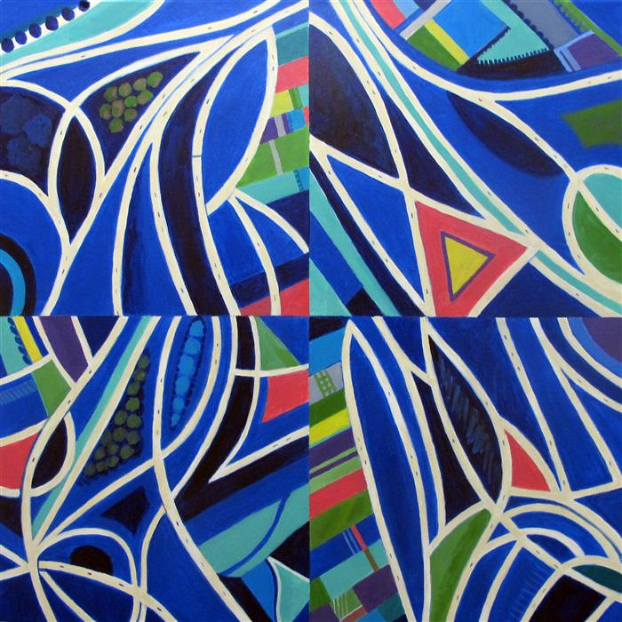 Original art for sale at UGallery.com | Blue Intersections, Quartered by TONI SILBER-DELERIVE | $3,600 |  | 30' h x 30' w | ..\art\acrylic-painting-Blue-Intersections-Quartered
