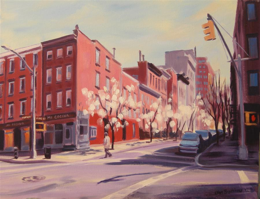 Original art for sale at UGallery.com | Spring, Hudson & Jane St by ELLEN BRADSHAW | $2,050 |  | 14' h x 18' w | ..\art\oil-painting-Spring-Hudson-Jane-St
