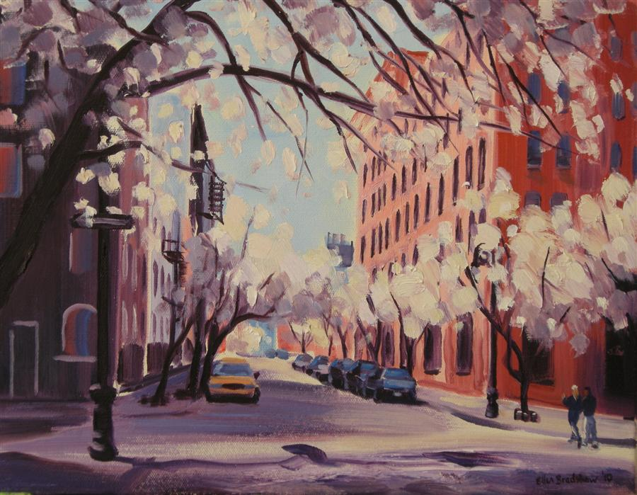 Original art for sale at UGallery.com | Spring Blossoms, Greenwich & Perry by ELLEN BRADSHAW | $1,550 | Oil painting | 11' h x 14' w | ..\art\oil-painting-Spring-Blossoms-Greenwich-Perry
