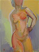 Nudes art,People art,Representational art,acrylic painting,Red and Yellow Woman
