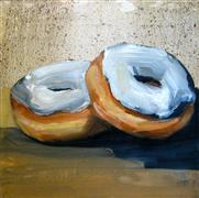 Pop art,Still Life art,Cuisine art,Representational art,oil painting,Two Donuts with White Frosting