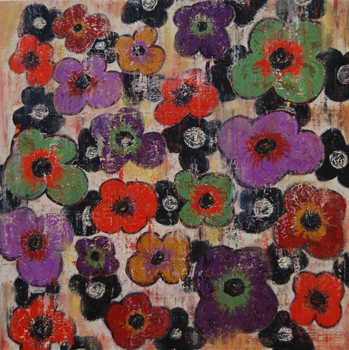 Original art for sale at UGallery.com | Flowers 3 by JANET HAMILTON | $2,250 |  | 36' h x 36' w | ..\art\oil-painting-Flowers-3