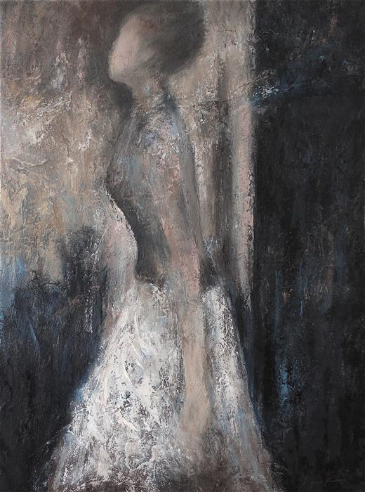 Original art for sale at UGallery.com | Stepping Out to the Light by NAOKO PALUSZAK | $1,800 | Oil painting | 24' h x 18' w | ..\art\oil-painting-Stepping-Out-to-the-Light
