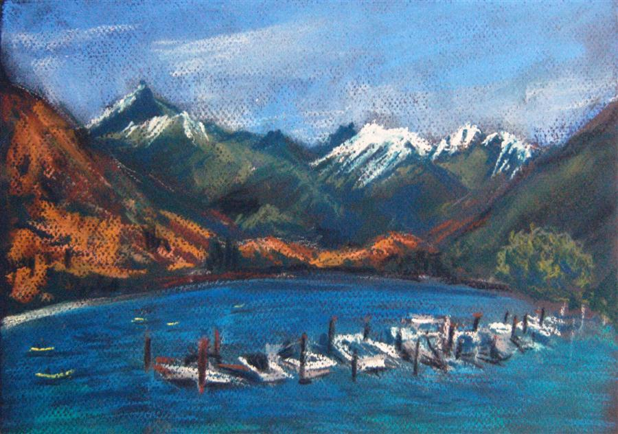 Original art for sale at UGallery.com | Lake and Mountains by MARIA TSAGURIYA | $250 | Pastel artwork | 8.5' h x 12' w | ..\art\pastel-artwork-Lake-and-Mountains