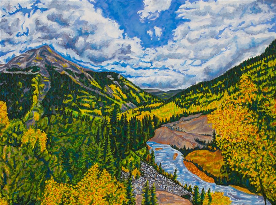 Original art for sale at UGallery.com | Fall in the San Juans by CRYSTAL DIPIETRO | $3,100 |  | 30' h x 40' w | ..\art\oil-painting-Fall-in-the-San-Juans