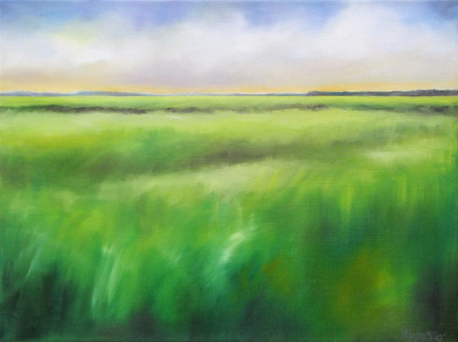 Original art for sale at UGallery.com | Marsh Grass - Summer by NANCY HUGHES MILLER | $725 | Oil painting | 18' h x 24' w | ..\art\oil-painting-Marsh-Grass-Summer