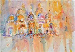 Architecture art,Religion art,Travel art,Representational art,watercolor painting,Carnevale di Venezia
