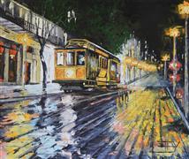 Architecture art,Impressionism art,Travel art,Representational art,oil painting,Rainy Evening in San Francisco