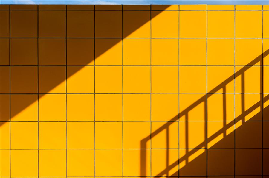 Original art for sale at UGallery.com | Yellow Tiles, Blue Line by Kimberly Poppe | $375 | photography | 36' h x 24' w | ..\art\photography-Yellow-Tiles-Blue-Line