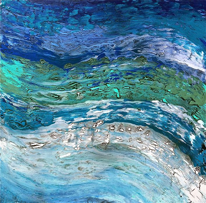 Original art for sale at UGallery.com | Wave after Wave II by ALICIA DUNN | $700 |  | 24' h x 24' w | ..\art\acrylic-painting-Wave-after-Wave-II