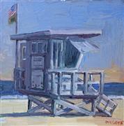 Architecture art,Impressionism art,Seascape art,Representational art,oil painting,Lifeguard Tower