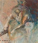Expressionism art,People art,Non-representational art,oil painting,Thinker (Sitting Nude)