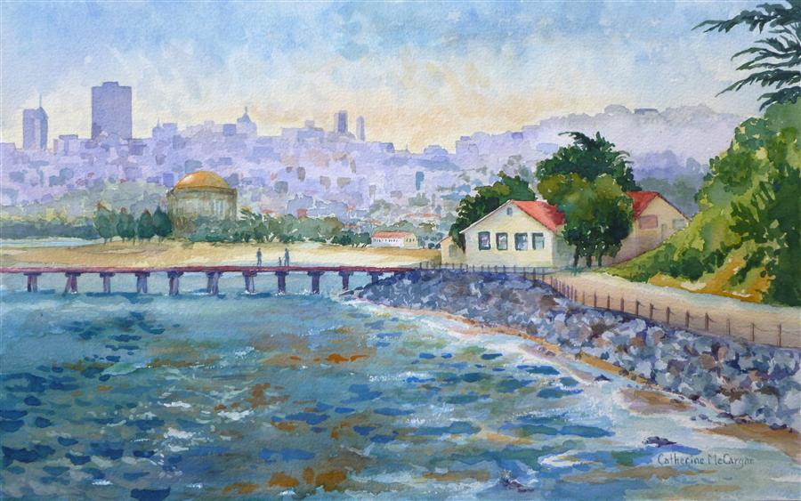 Original art for sale at UGallery.com | San Francisco Skyline from Fort Point by CATHERINE MCCARGAR | $525 |  | 10' h x 16' w | ..\art\watercolor-painting-San-Francisco-Skyline-from-Fort-Point