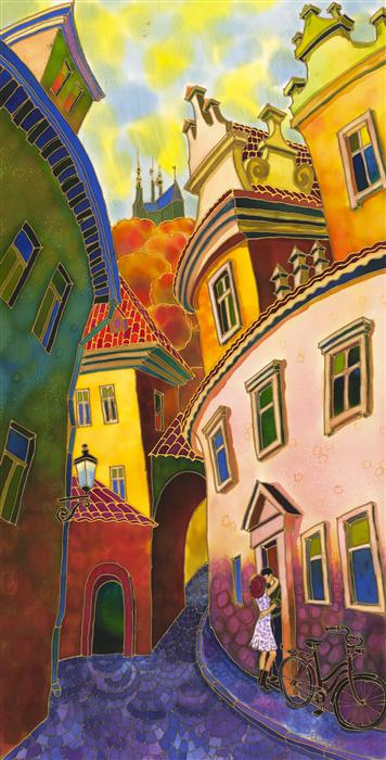 Original art for sale at UGallery.com | Last Ray of Sun, Old Street Prague by YELENA SIDOROVA | $1,275 | Mixed media artwork | 36' h x 18' w | ..\art\mixed-media-artwork-Last-Ray-of-Sun-Old-Street-Prague