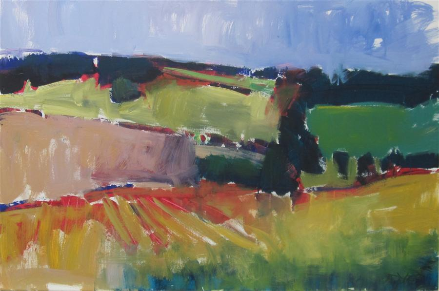 Original art for sale at UGallery.com | Dordogne Fields by JANET DYER | $2,650 |  | 24' h x 36' w | ..\art\acrylic-painting-Dordogne-Fields