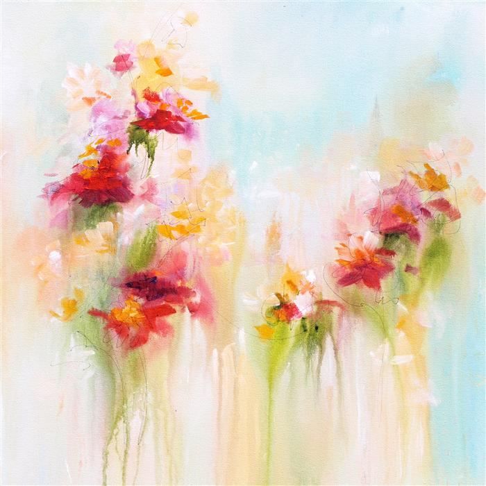 Original art for sale at UGallery.com | Garden Colors by Karen Hale | $1,625 | acrylic painting | 24' h x 24' w | ..\art\acrylic-painting-Garden-Colors