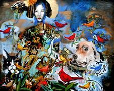 Animals art,People art,Surrealism art,Street Art art,Representational art,mixed media artwork,So She Traded in Her Monkey and...