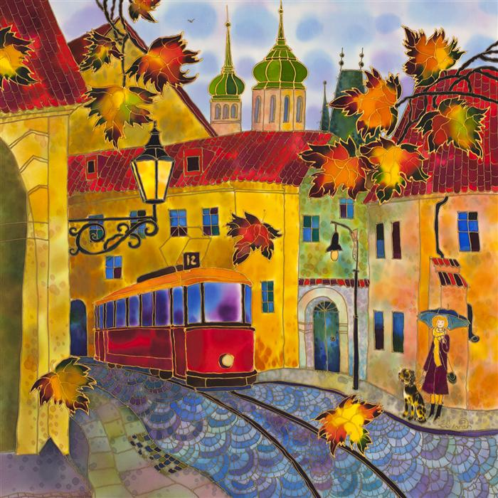 Original art for sale at UGallery.com | Autumn Leaves, Street in Prague by YELENA SIDOROVA | $1,350 | Mixed media artwork | 30' h x 30' w | ..\art\mixed-media-artwork-Autumn-Leaves-Street-in-Prague