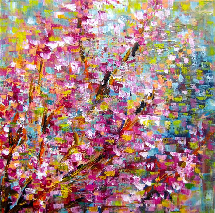 Original art for sale at UGallery.com | Redbud Trees Blooming II by INA SHTUKAR | $1,900 | Acrylic painting | 30' h x 30' w | ..\art\acrylic-painting-Redbud-Trees-Blooming-II