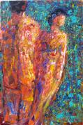 Expressionism art,People art,Non-representational art,acrylic painting,Storm on the Horizon