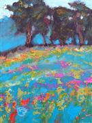 Impressionism art,Landscape art,Representational art,acrylic painting,Spring Hillside