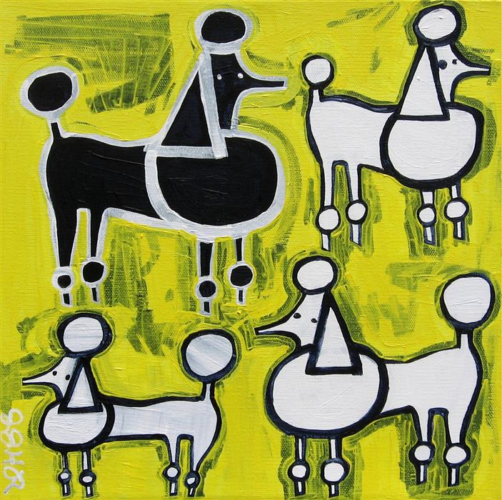 Original art for sale at UGallery.com | Poodles on Yellow by JESSICA JH ROLLER | $300 |  | 12' h x 12' w | ..\art\acrylic-painting-Poodles-on-Yellow