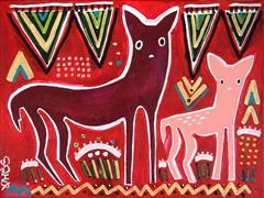 Animals art,Representational art,Primitive art,acrylic painting,Doe and Fawn