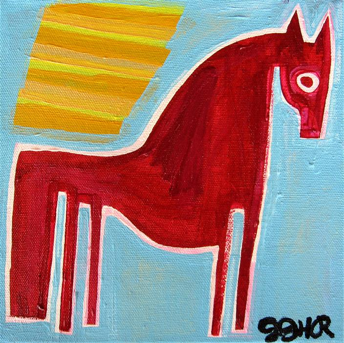 Original art for sale at UGallery.com | Pony in the Sunlight by JESSICA JH ROLLER | $250 |  | 8' h x 8' w | ..\art\acrylic-painting-Pony-in-the-Sunlight