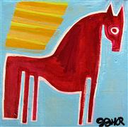 Animals art,Representational art,Primitive art,acrylic painting,Pony in the Sunlight