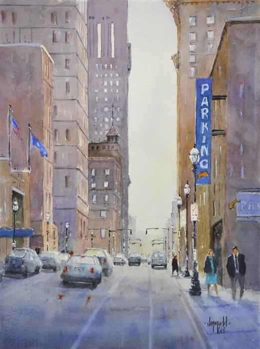 Original art for sale at UGallery.com | City Parking 1 by JUDY MUDD | $575 |  | 15' h x 11' w | ..\art\watercolor-painting-City-Parking-1